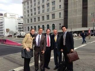 Daniel K. Bandklayder, P.A.'s trial team outside the United States District Court for the Eastern District of New York in Brooklyn, New York, after obtaining a $13 million award in April 2013.